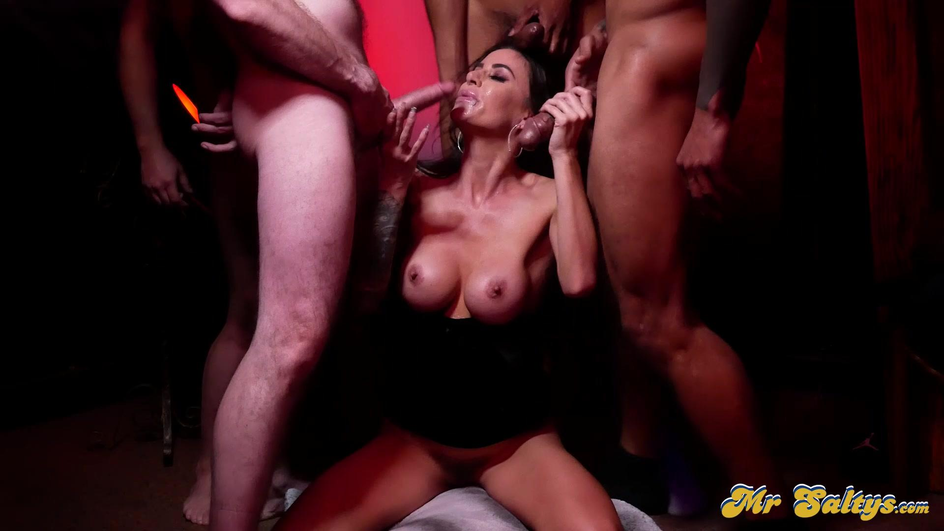 Aziani – Gia Dimarco Hotwife Explores Swingers Club Ends Up On Her Knees